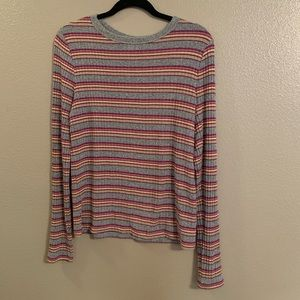 Pink and Gray Long Sleeve Top